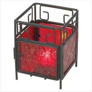 Red Glass Square Candleholder - 37610