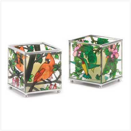 Birds Stained Glass Votive Holder - 37894