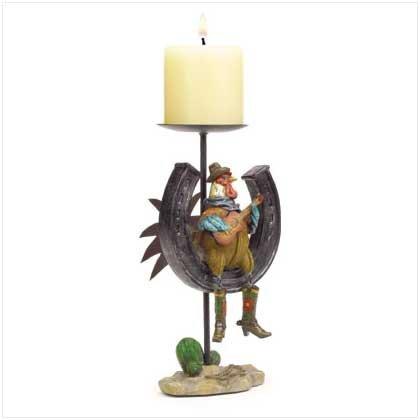Cowboy Rooster Candleholder - 37972