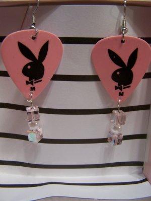 Pink Playboy 1 GUITAR PICK EARRINGS!