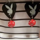 Black playboy earrings GUITAR PICK EARRINGS!