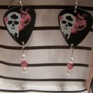 Pink and white Skulls 1 GUITAR PICK EARRINGS!