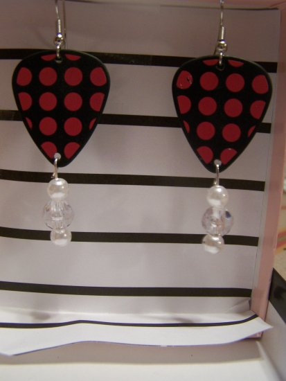Black and pink polka dots 1 GUITAR PICK EARRINGS!