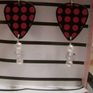 Black and pink polka dots 1 GUITAR PICK EARRINGS!