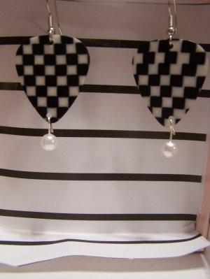 Checkered picks 1 NASCAR GUITAR PICK EARRINGS!
