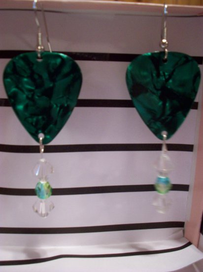 Green Pearl picks 2 GUITAR PICK EARRINGS!