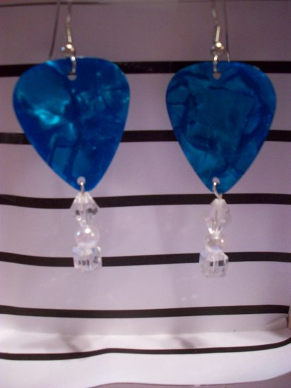Pearl blue picks 1 GUITAR PICK EARRINGS!