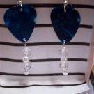 Dark Blue pearl picks GUITAR PICK EARRINGS!