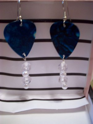 Dark Blue pearl picks GUITAR PICK EARRINGS!