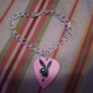 Pink Playboy toggle clasp bracelet GUITAR PICK