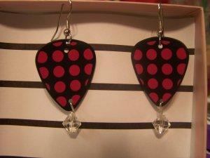 Pink and Black polka dot 2 GUITAR PICK EARRINGS!