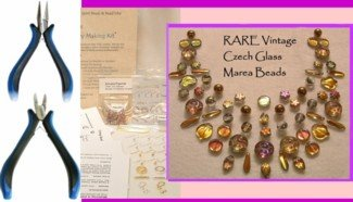 RARE Czech Marea Beads BEAD KIT with tools