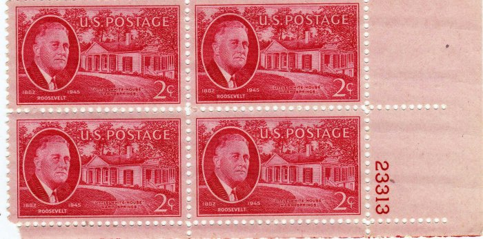 ROOSEVELT AND LITTLE WHITE HOUSE PLATE BLOCK