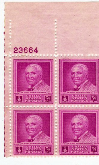PLATE BLOCK-SCOTT #953-G W CARVER-US STAMPS