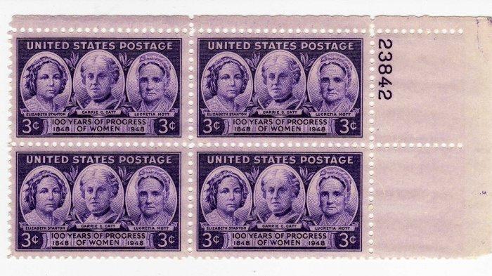 USA PLATE BLOCK SCOTTS #957-PROGRESS OF WOMEN-U S STAMPS