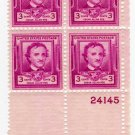 PLATE BLOCK SCOTTS #986-EDGAR ALLEN POE-U S STAMPS