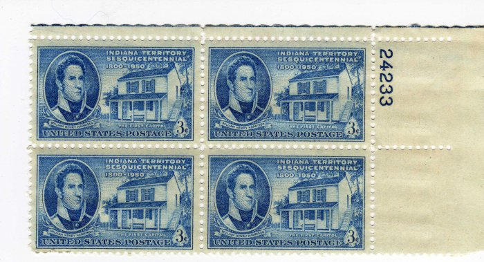 SCOTTS #996 PLATE BLOCK-GOVERNOR HARRISON-INDIANA-US STAMPS