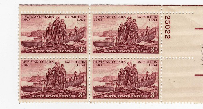 SCOTTS #1063 PLATE BLOCK-LEWIS AND CLARK-US STAMPS