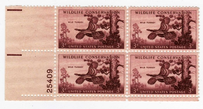 SCOTTS #1077 PLATE BLOCK- WILDLIFE CONSERVATION-US STAMPS