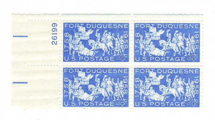 USA SCOTT #1123-PLATE BLOCK-FORT DEQUESNE-U S STAMPS