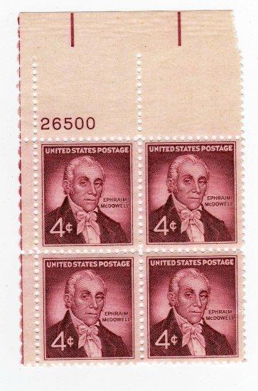 USA SCOTT# 1138-EPHRAIM MCDOWELL-PLATE BLOCK-U S STAMPS