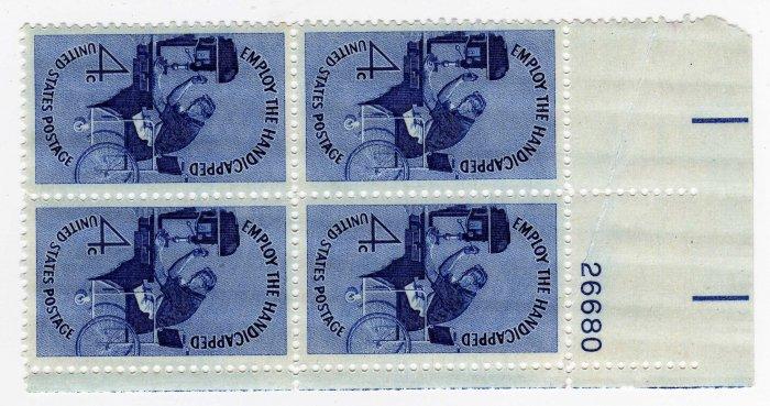 USA SCOTT# 1155-EMPLOY THE HANDICAPPED-PLATE BLOCK-U S STAMP