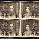 SCOTT# 13,-ADEN-BLOCK OF 4, KING GEORGE Vl CORONATION SET