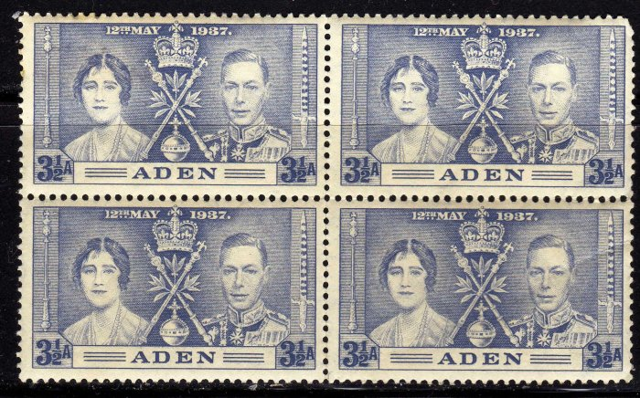 SCOTT# 15,-ADEN-BLOCK OF 4, KING GEORGE Vl CORONATION SET