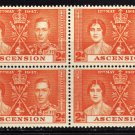 SCOTT 38, ASCENSION BLOCK OF FOUR-KING GEORGE Vl CORONATION ISSUE