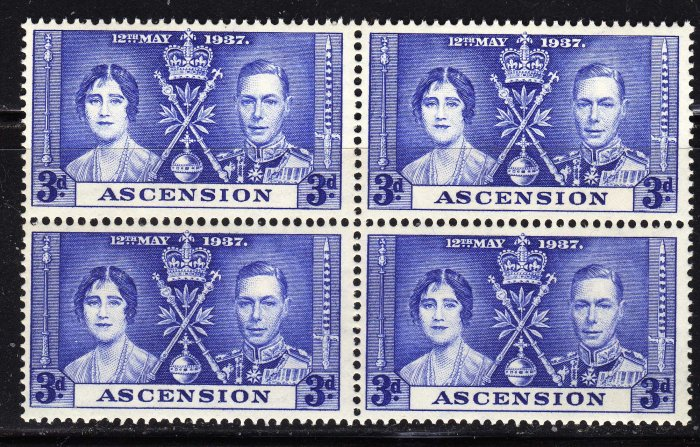 SCOTT# 39, ASCENSION BLOCK OF FOUR-KING GEORGE Vl CORONATION ISSUE