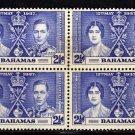 SCOTT 99, BAHAMA BLOCK OF FOUR-KING GEORGE Vl CORONATION ISSUE