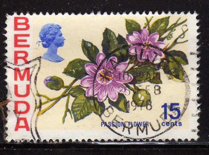 SCOTT# 264-BERMUDA 15 CENT PASSION FLOWER--(LOT#289)