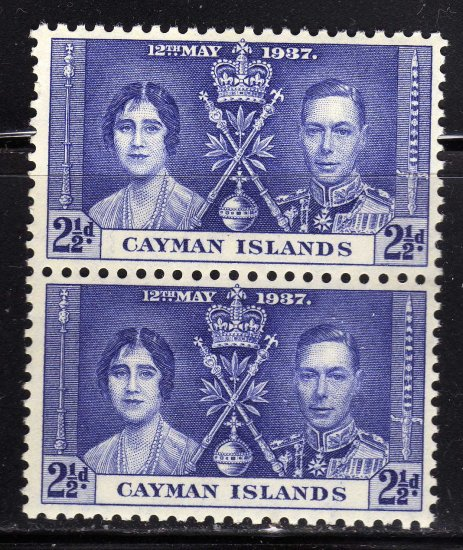 SC0TT# 99 CAYMAN ISLANDS STAMPS KING GEORGE Vl CORONATION ISSUE