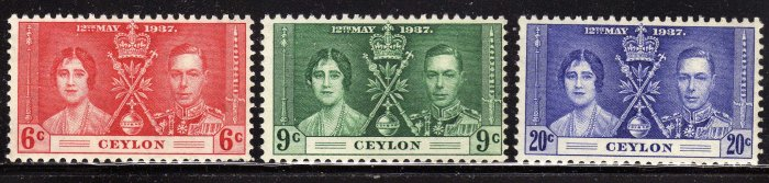 SC0TT# 275 276 277 CEYLON STAMPS KING GEORGE Vl CORONATION ISSUE