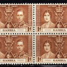 SC0TT# 129 - GAMBIA STAMPS KING GEORGE Vl CORONATION ISSUE
