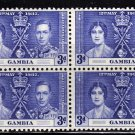 SC0TT# 131 - GAMBIA STAMPS KING GEORGE Vl CORONATION ISSUE