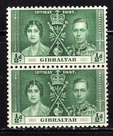 SC0TT# 104,- GIBRALTAR STAMPS KING GEORGE Vl CORONATION ISSUE