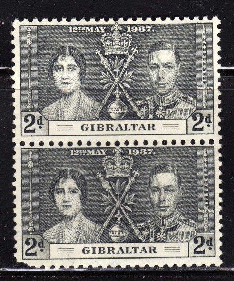 SC0TT# 105,- GIBRALTAR STAMPS KING GEORGE Vl CORONATION ISSUE