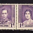 SC0TT# 37, GILBERT AND ELLICE ISLAND STAMPS KING GEORGE Vl CORONATION ISSUE