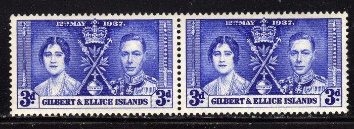 SC0TT# 39, GILBERT AND ELLICE ISLAND STAMPS KING GEORGE Vl CORONATION ISSUE