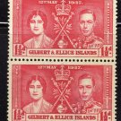 SC0TT# 38, GILBERT AND ELLICE ISLAND STAMPS KING GEORGE Vl CORONATION ISSUE