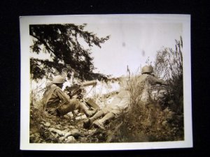 WWII Photo GIs in Field w/Machine Gun in Action