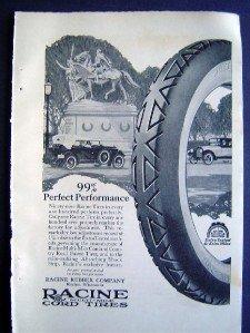 Jan 1921 Racine Tires Auto Car Harpers Advertisment