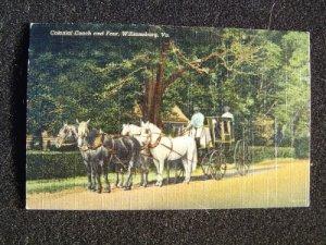 Colonial Coach & Four  Williamsburg VA  Linen Post Card