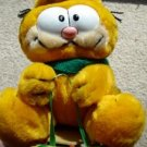 Garfield the Cat on Sled with Green Scarf Plush