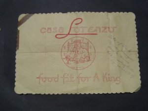 1940s Restaurant Casa Lorenzo Paper Placemat Rochester