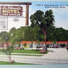 LaFloresta Motel Daytona Beach Florida Linen Postcard