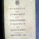 1920 Engineers Fireman Hostlers Schedule Agree Railroad