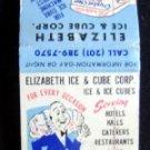 Elizabeth Ice & Cube Corp New Jersey Matchbook