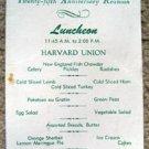 Harvard 1933 Class 25th Anniversary Reunion Lunch Menu